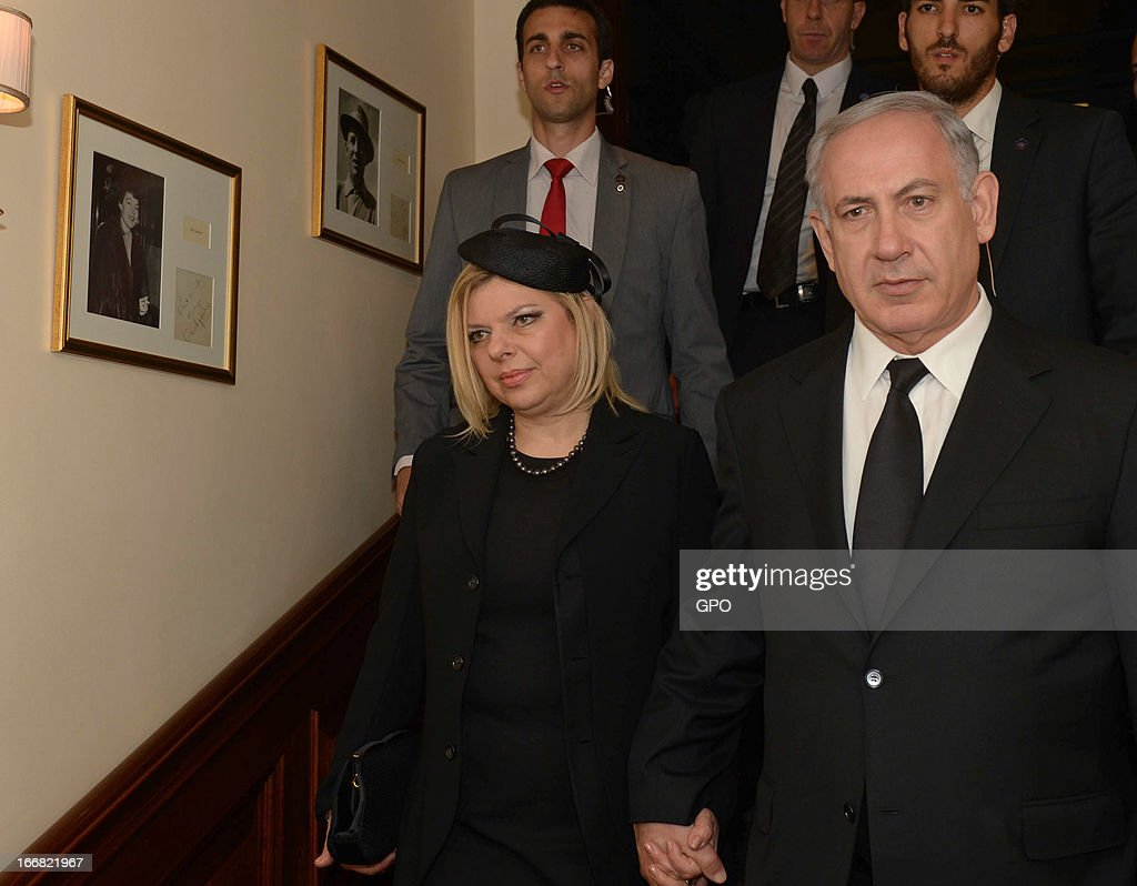 Israeli Prime Minister Benjamin Netanyahu and his wife Sara Netanyahu on April 17, 2013 on a visit to London, England. The Israeli Prime Minister was one of the 2,000 guests who attended the funeral of former British Prime Minister Baroness Margaret Thatcher in London today.