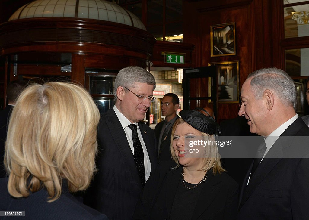 Israeli Prime Minister <a gi-track='captionPersonalityLinkClicked' href=/galleries/search?phrase=Benjamin+Netanyahu&family=editorial&specificpeople=118594 ng-click='$event.stopPropagation()'>Benjamin Netanyahu</a> and his wife <a gi-track='captionPersonalityLinkClicked' href=/galleries/search?phrase=Sara+Netanyahu&family=editorial&specificpeople=1061079 ng-click='$event.stopPropagation()'>Sara Netanyahu</a> meet Canadian Prime Minister Stephen Harper on April 17, 2013 on a visit to London, England. The Israeli Prime Minister was one of the 2,000 guests who attended the funeral of former British Prime Minister Baroness Margaret Thatcher in London today.