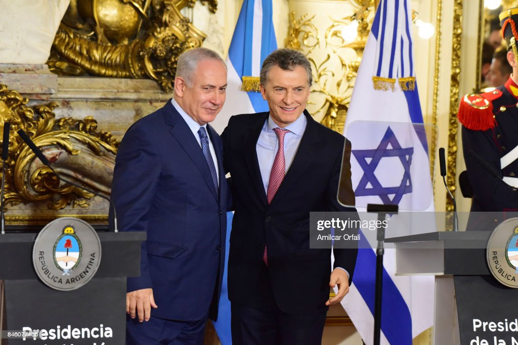 Israeli Prime Minister Benjamin Netanyahu (L) and President of Argentina Mauricio Macri pose for pictures during a meeting as part of the official visit of Israeli Prime Minister Benjamin Netanyahu to Buenos Aires at Casa Rosada on September 12, 2017 in Buenos Aires, Argentina.