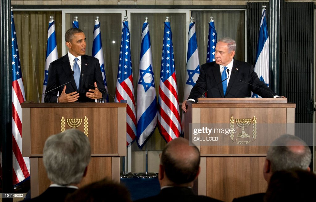 Israeli Prime Minister Benjamin Netanyahu (R) and US President Barack Obama hold a joint press conference at the Prime Minister's Residence in Jerusalem, on March 20, 2013, on the first day of Obama's three day trip to Israel and the Palestinian Territories. AFP PHOTO / Saul LOEB