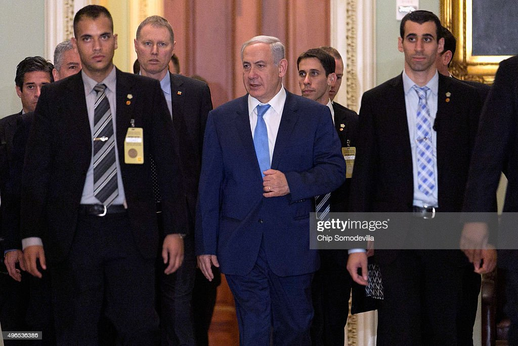 Israeli Prime Minister Benjamin Netanyahu arrives at the U.S. Capitol ahead of meetings with members of the Senate November 10, 2015 in Washington, DC. Netanyahu met with U.S. President Barack Obama a day earlier when the two leaders talked about fighting terrorism, the conflict in Syria and healing their rift over the Iran nuclear deal.