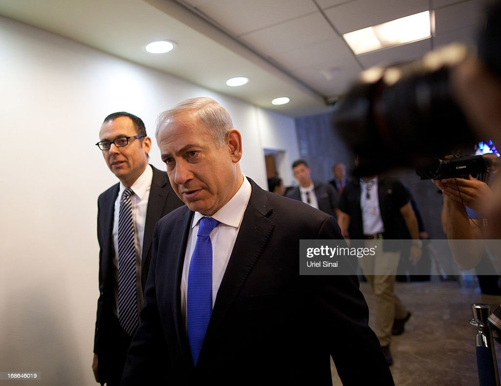 Israeli Prime Minister <a gi-track='captionPersonalityLinkClicked' href=/galleries/search?phrase=Benjamin+Netanyahu&family=editorial&specificpeople=118594 ng-click='$event.stopPropagation()'>Benjamin Netanyahu</a> arrives for the weekly cabinet meeting on May 13, 2013 in Jerusalem, Israel. The meeting comes as Netanyahu faces criticism over reports that 127,000 USD of public money was spent on fitting sleeping quarters on his flight to the UK for Margaret Thatcher's funeral.