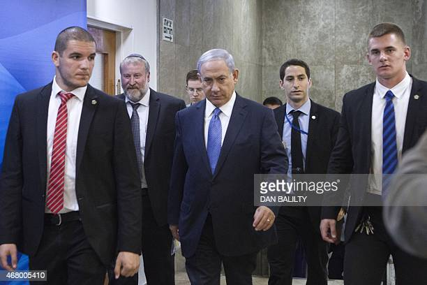 Israeli Prime Minister Benjamin Netanyahu arrives to chair the weekly cabinet meeting at his Jerusalem office on March 29 2015 Netanyahu denounced as...
