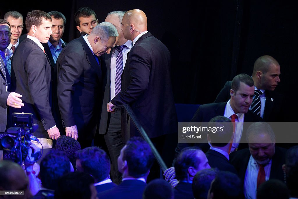 Israeli Prime Minister Benjamin Netanyahu at his election campaign headquarters on Janurary 23, 2013 in Tel Aviv, Israel. Exit polls suggested that current Prime Minister Benjamin Netanyahu will return to office, although he performed worse than expected.