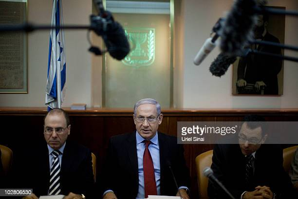 Israeli Prime Minister Benjamin Netanyahu attends the weekly cabinet meeting in his office on July 11 2010 in Jerusalem Israel The Israeli Prime...