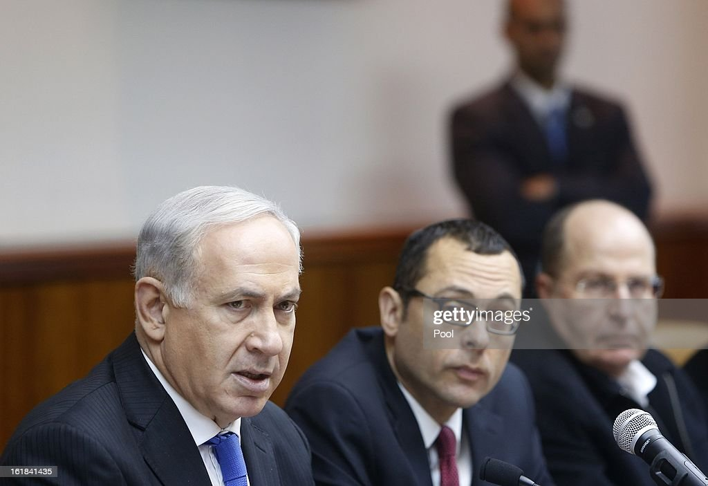 Israeli Prime Minister Benjamin Netanyahu (L) attends the weekly cabinet meeting on February 17, 2013 in Jerusalem, Israel. Netanyahu made a statement reaffirming his trust in the Israeli security forces and asking that they be spared undue media attention, a response made in relation to the 'Prisoner X' affair in which the suicide in Ayalon Prison of an Australin immigrant to Israel is speculated to have been espionage related and with Mossad involvement.