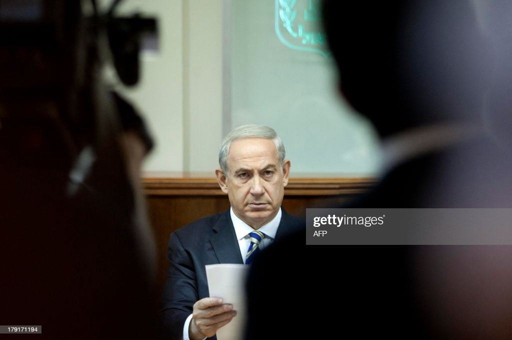 Israeli Prime Minister Benjamin Netanyahu attends the weekly cabinet meeting in Jerusalem on September 1, 2013. The Israeli cabinet authorised on August 28 a partial call-up of army reservists amid growing expectations of a foreign military strike on neighbouring Syria, army radio reported.