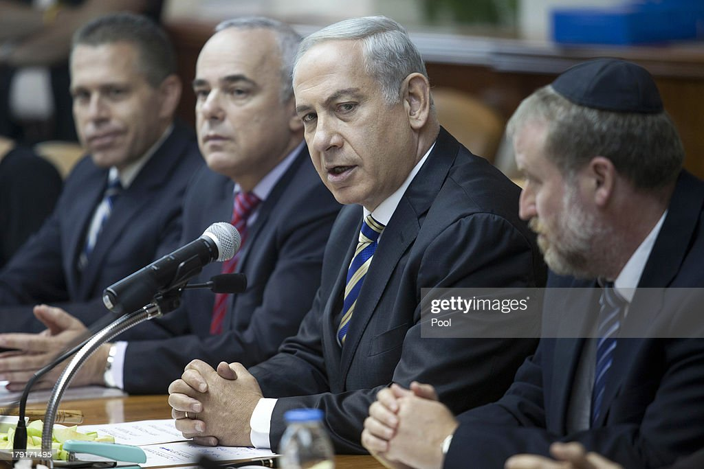 Israeli Prime Minister <a gi-track='captionPersonalityLinkClicked' href=/galleries/search?phrase=Benjamin+Netanyahu&family=editorial&specificpeople=118594 ng-click='$event.stopPropagation()'>Benjamin Netanyahu</a> attends the weekly cabinet meeting on September 1, 2013 in Jerusalem, Israel. Israeli authorities have tried to calm fears in the country of any fallout from a possible US-led intervention in Syria.