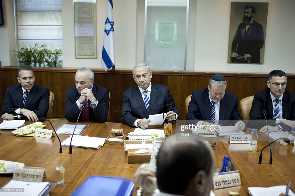Israeli Prime Minister Benjamin Netanyahu attends the weekly cabinet meeting on September 1, 2013 in Jerusalem, Israel. Israeli authorities have tried to calm fears in the country of any fallout from a possible US-led intervention in Syria.