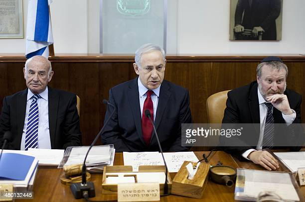 Israeli Prime Minister Benjamin Netanyahu attends the weekly cabinet meeting at his office in Jerusalem on March 23 2014 AFP PHOTO / POOL / ABIR...