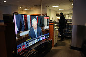 Israeli Prime Minister Benjamin Netanyahu can be viewed on a television monitor as he delivers a speech to Congress on March 3 2015 in New York City...
