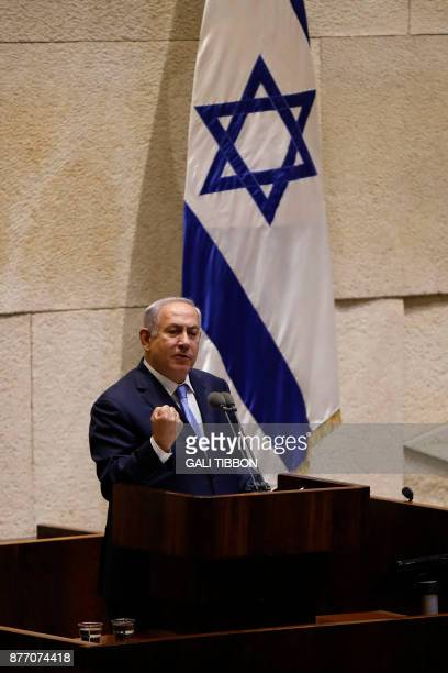 Israeli Prime Minister Benjamin Netanyahu delivers a speech at the Knesset during a special session marking the 40th anniversary of late Egyptian...