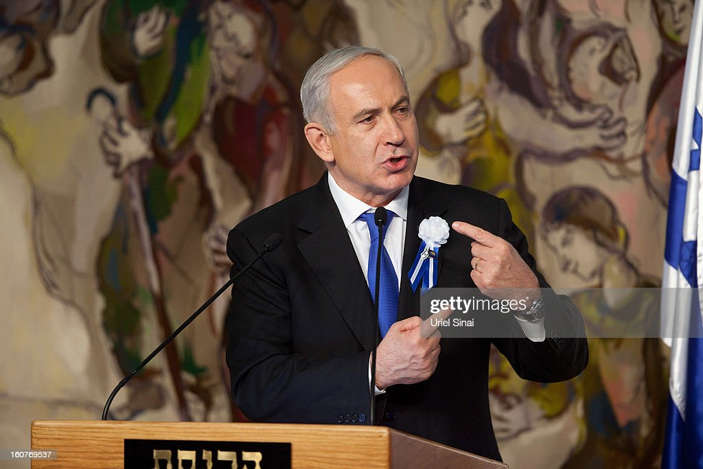 Israeli Prime Minister <a gi-track='captionPersonalityLinkClicked' href=/galleries/search?phrase=Benjamin+Netanyahu&family=editorial&specificpeople=118594 ng-click='$event.stopPropagation()'>Benjamin Netanyahu</a> delivers a speech during a reception marking the opening of the 19th Knesset (Israeli parliament)on February 5, 2013 in Jerusalem, Israel. The 120 members of the Knesset included a record 48 new law makers.