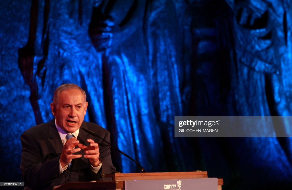 Israeli Prime Minister Benjamin Netanyahu delivers a speech during a ceremony marking the Holocaust Remembrance Day on May 4, 2016 at the Yad Vashem Holocaust memorial in Jerusalem. Holocaust Remembrance Day, commemorating the six million Jews killed by the Nazis during World War II, is an internationally recognized date corresponding to the 27th day of Nisan on the Hebrew calendar and begins this year in the evening of May 4 and ends in the evening of May 5. / AFP / Gil Cohen-Magen