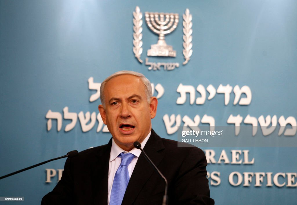 Israeli Prime Minister Benjamin Netanyahu delivers a statement to the press at his Jerusalem office on November 21, 2012. Israel and Hamas agreed on a truce that will take effect this evening in a bid to end a week of bloodshed in and around Gaza that has killed more than 150 people, Egypt and the United States said. AFP PHOTO/GALI TIBBON