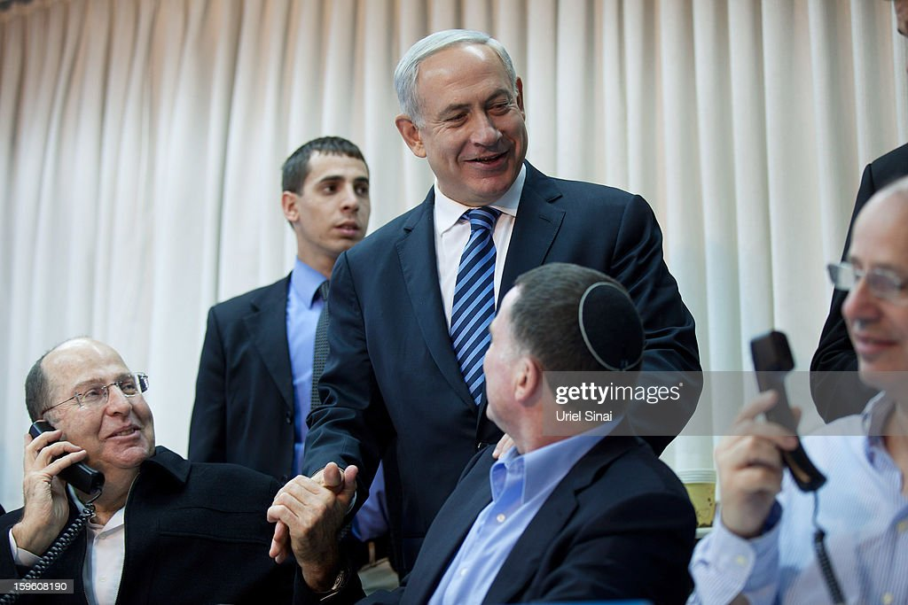 Israeli Prime Minister Benjamin Netanyahu (3rd L) during a campaign event ahead of the upcoming Israeli elections on January 17, 2013. in Tel Aviv, Israel. Israeli elections are scheduled for January 22 and so far showing a majority for the Israeli right.