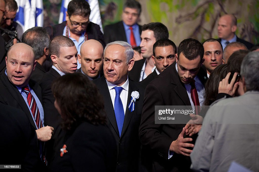 Israeli Prime Minister <a gi-track='captionPersonalityLinkClicked' href=/galleries/search?phrase=Benjamin+Netanyahu&family=editorial&specificpeople=118594 ng-click='$event.stopPropagation()'>Benjamin Netanyahu</a>, during a reception marking the opening of the 19th Knesset (Israeli parliament) on February 5, 2013 in Jerusalem, Israel. The 120 members of the Knesset included a record 48 new law makers.