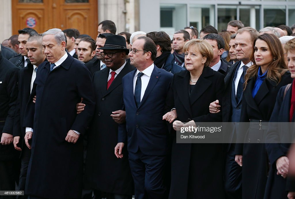 Israeli Prime Minister Benjamin Netanyahu French President Francois Hollande German Chancellor Angela Merkel and Queen Rania of Jordan attend a mass...