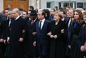 Israeli Prime Minister Benjamin Netanyahu French President Francois Hollande German Chancellor Angela Merkel and Queen Rania of Jordan attend a mass...