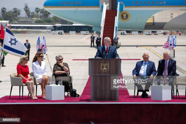 Israeli Prime Minister Benjamin Netanyahu gives a speech as US President Donald Trump and Israeli President Reuven Rivlin Sara Netanyahu US First...