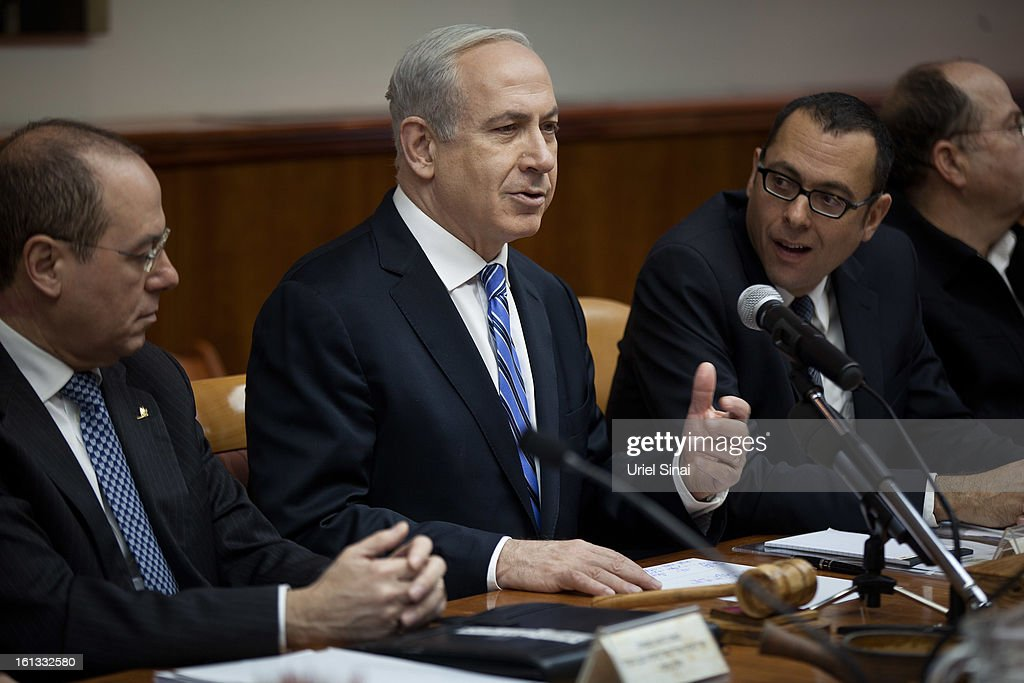 Israeli Prime Minister <a gi-track='captionPersonalityLinkClicked' href=/galleries/search?phrase=Benjamin+Netanyahu&family=editorial&specificpeople=118594 ng-click='$event.stopPropagation()'>Benjamin Netanyahu</a> heads the weekly cabinet meeting in his office on February 10, 2013 in Jerusalem, Israel. The topics of debate which Netanyahu will hold with US President Obama were addressed during the weekly meeting. Obama is due to visit March 20.