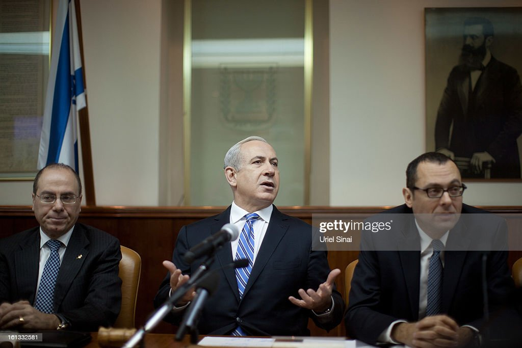 Israeli Prime Minister Benjamin Netanyahu heads the weekly cabinet meeting in his office on February 10, 2013 in Jerusalem, Israel. The topics of debate which Netanyahu will hold with US President Obama were addressed during the weekly meeting. Obama is due to visit March 20.