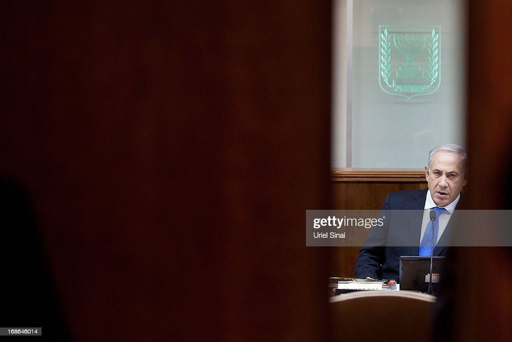 Israeli Prime Minister Benjamin Netanyahu heads the weekly cabinet meeting in his office on May 13, 2013 in Jerusalem, Israel. The meeting comes as Netanyahu faces criticism over reports that 127,000 USD of public money was spent on fitting sleeping quarters on his flight to the UK for Margaret Thatcher's funeral.