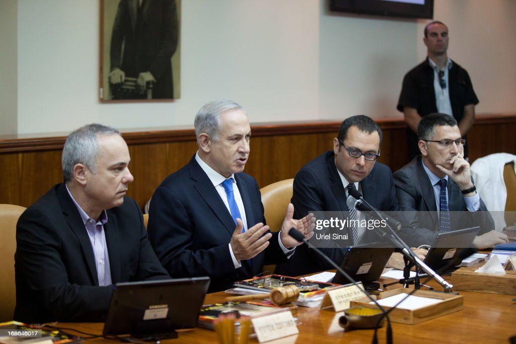 Israeli Prime Minister <a gi-track='captionPersonalityLinkClicked' href=/galleries/search?phrase=Benjamin+Netanyahu&family=editorial&specificpeople=118594 ng-click='$event.stopPropagation()'>Benjamin Netanyahu</a> (2nd L) heads the weekly cabinet meeting in his office on May 13, 2013 in Jerusalem, Israel. The meeting comes as Netanyahu faces criticism over reports that 127,000 USD of public money was spent on fitting sleeping quarters on his flight to the UK for Margaret Thatcher's funeral.