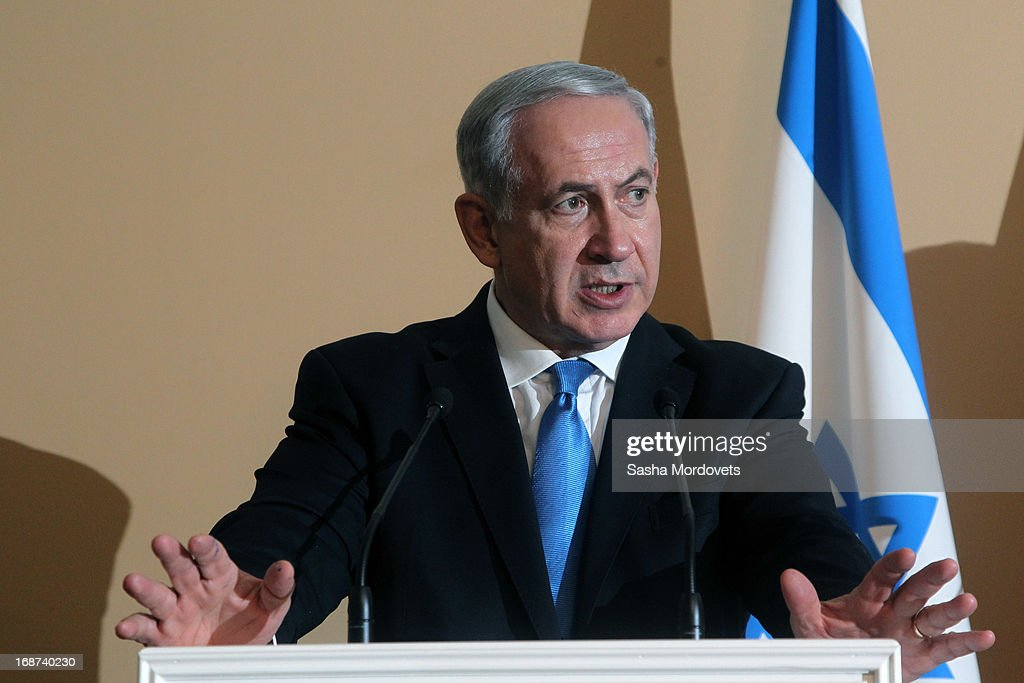 Israeli Prime Minister <a gi-track='captionPersonalityLinkClicked' href=/galleries/search?phrase=Benjamin+Netanyahu&family=editorial&specificpeople=118594 ng-click='$event.stopPropagation()'>Benjamin Netanyahu</a> holds a joint press conference with Russian President Vladimir Putin at Bocharov Ruchei state residence on May 14, 2013 in Sochi, Russia. According to reports, Israel's concerns over Russian plans to sell Syrian President Bashar al-Assad an advanced air defense system will be raised.