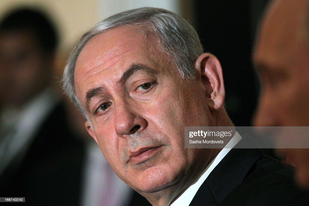 Israeli Prime Minister <a gi-track='captionPersonalityLinkClicked' href=/galleries/search?phrase=Benjamin+Netanyahu&family=editorial&specificpeople=118594 ng-click='$event.stopPropagation()'>Benjamin Netanyahu</a> holds a joint press conference with Russian President <a gi-track='captionPersonalityLinkClicked' href=/galleries/search?phrase=Vladimir+Putin&family=editorial&specificpeople=154896 ng-click='$event.stopPropagation()'>Vladimir Putin</a> at Bocharov Ruchei state residence on May 14, 2013 in Sochi, Russia. According to reports, Israel's concerns over Russian plans to sell Syrian President Bashar al-Assad an advanced air defense system will be raised.