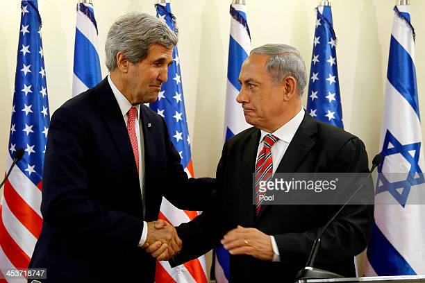 Israeli Prime Minister Benjamin Netanyahu holds a joint press conference with US Secretary Of State John Kerry on December 5 2013 in Jerusalem Israel...