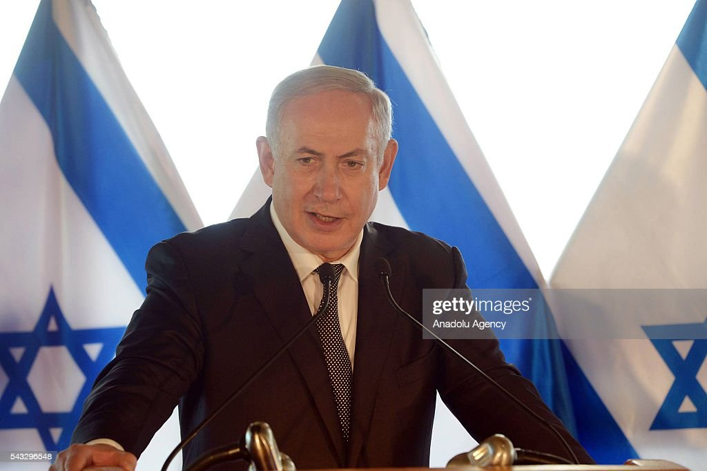Israeli Prime Minister Benjamin Netanyahu holds a press conference during his visit in Rome, Italy on June 27, 2016.