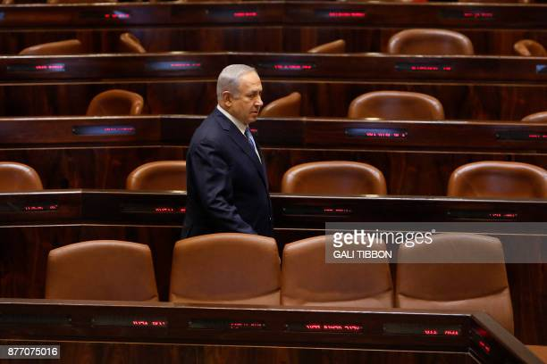 Israeli Prime Minister Benjamin Netanyahu is seen at the Knesset during a special session marking the 40th anniversary of late Egyptian president...