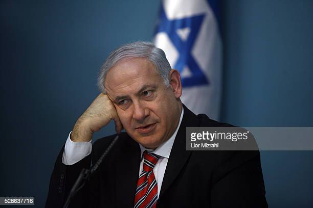 Israeli Prime Minister Benjamin Netanyahu is seen during a press conference on February 22 2010 in Jerusalem Israel