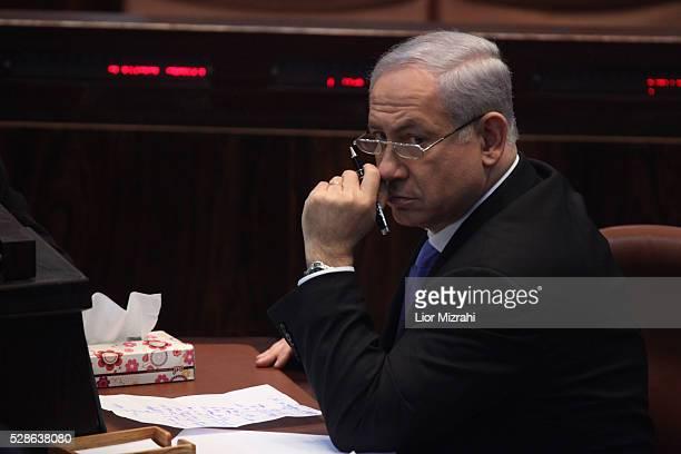 Israeli Prime Minister Benjamin Netanyahu is seen in the Knesset Israeli Parliament on January 19 2011 in Jerusalem Israel