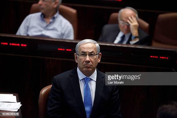 Israeli Prime Minister Benjamin Netanyahu is seen in the Knesset Israeli Parliament on October 31 2011 in Jerusalem Israel