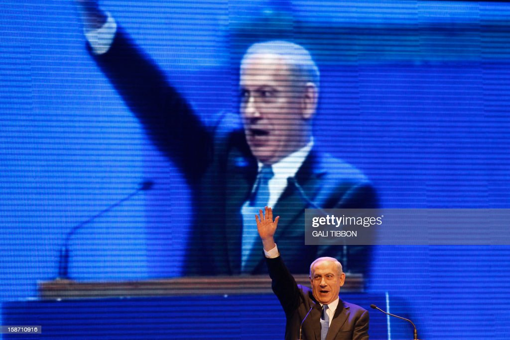 Israeli Prime Minister Benjamin Netanyahu launches the Likud-Beitenu elections campaign on December 25, 2012 in Jerusalem . A month before Israelis go to the polls in a snap election, Prime Minister Benjamin Netanyahu has plenty to be confident about, with his only real challenges coming from within his own rightwing camp.