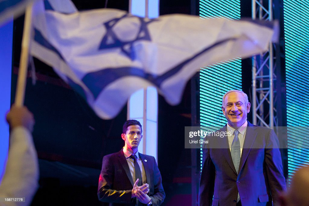 Israeli Prime Minister <a gi-track='captionPersonalityLinkClicked' href=/galleries/search?phrase=Benjamin+Netanyahu&family=editorial&specificpeople=118594 ng-click='$event.stopPropagation()'>Benjamin Netanyahu</a> launches the Likud-Beitenu election campaign on December 25, 2012 in Jerusalem, Israel. Netanyahu has recently seen his party lose ground to the right-wing Habayit Hayehudi-National Union party.