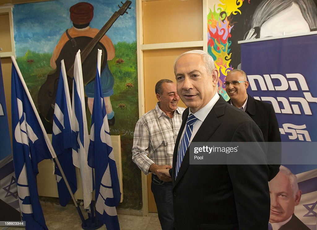 Israeli Prime Minister <a gi-track='captionPersonalityLinkClicked' href=/galleries/search?phrase=Benjamin+Netanyahu&family=editorial&specificpeople=118594 ng-click='$event.stopPropagation()'>Benjamin Netanyahu</a> leaves after casting his ballot for the Likud party leadership election at a polling station in the Jewish settlement of Givat Zeev, on November 25, 2012 in the West Bank. The Likud primaries, ahead of a January 22, 2013 general election, were reported to have been marred with malfunctioning computerized voting systems at polling stations.