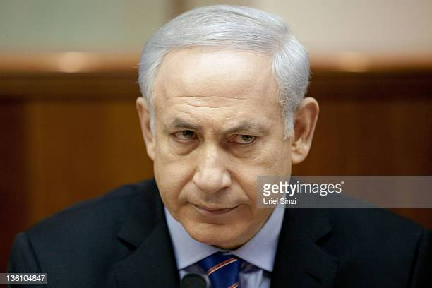 Israeli Prime Minister Benjamin Netanyahu looks on during the weekly cabinet meeting in his offices on December 25 2011 in Jerusalem Israel Reports...