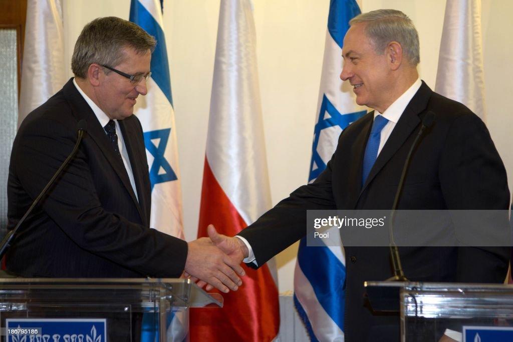 Polish President Bronislaw Komorowski Joint Press Conference With Israeli PM Benjamin Netanyahu In Israel