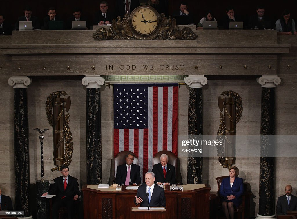 Israeli Prime Minister <a gi-track='captionPersonalityLinkClicked' href=/galleries/search?phrase=Benjamin+Netanyahu&family=editorial&specificpeople=118594 ng-click='$event.stopPropagation()'>Benjamin Netanyahu</a> speaks about Iran during a joint meeting of the United States Congress in the House chamber at the U.S. Capitol March 3, 2015 in Washington, DC. At the risk of further straining the relationship between Israel and the Obama Administration, Netanyahu warned members of Congress against what he considers an ill-advised nuclear deal with Iran.