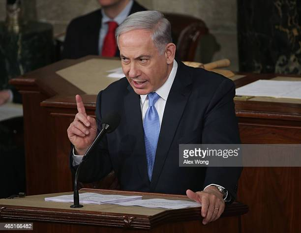 Israeli Prime Minister Benjamin Netanyahu speaks about Iran during a joint meeting of the United States Congress in the House chamber at the US...