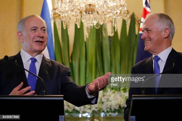 Israeli Prime Minister Benjamin Netanyahu speaks alongside Australian Prime Minister Malcolm Turnbull during their joint press conference at...