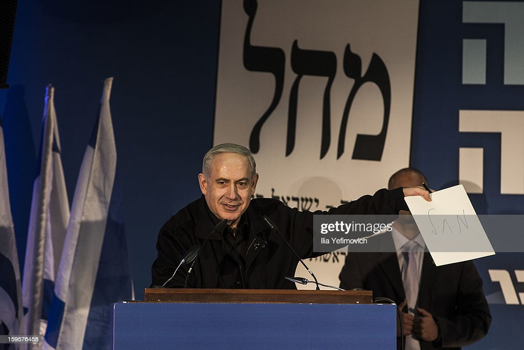 Israeli Prime Minister Benjamin Netanyahu speaks at a rally ahead of the national elections on January 16, 2013 in Ashdod, Israel.General elections will be held on January 22, 2013 to decide members of parliament and whether Benjamin Netanyahu will receive another term in office at Prime Minister.