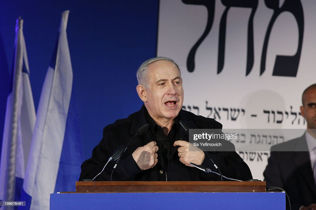 Israeli Prime Minister <a gi-track='captionPersonalityLinkClicked' href=/galleries/search?phrase=Benjamin+Netanyahu&family=editorial&specificpeople=118594 ng-click='$event.stopPropagation()'>Benjamin Netanyahu</a> speaks at a rally ahead of the national elections on January 16, 2013 in Ashdod, Israel.General elections will be held on January 22, 2013 to decide members of parliament and whether <a gi-track='captionPersonalityLinkClicked' href=/galleries/search?phrase=Benjamin+Netanyahu&family=editorial&specificpeople=118594 ng-click='$event.stopPropagation()'>Benjamin Netanyahu</a> will receive another term in office at Prime Minister.