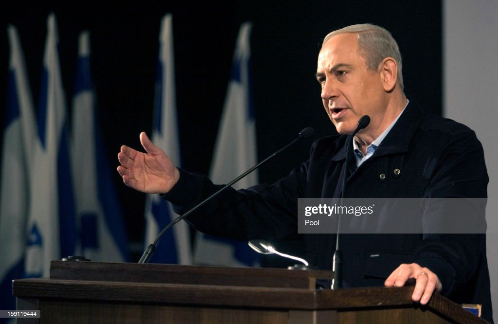 Israeli Prime Minister <a gi-track='captionPersonalityLinkClicked' href=/galleries/search?phrase=Benjamin+Netanyahu&family=editorial&specificpeople=118594 ng-click='$event.stopPropagation()'>Benjamin Netanyahu</a> speaks at the Ariel University Center January 8, 2013 in Ariel, West Bank. The insititution had recently been formally upgraded to university status, becoming the first university in the West Bank Jewish settlements.
