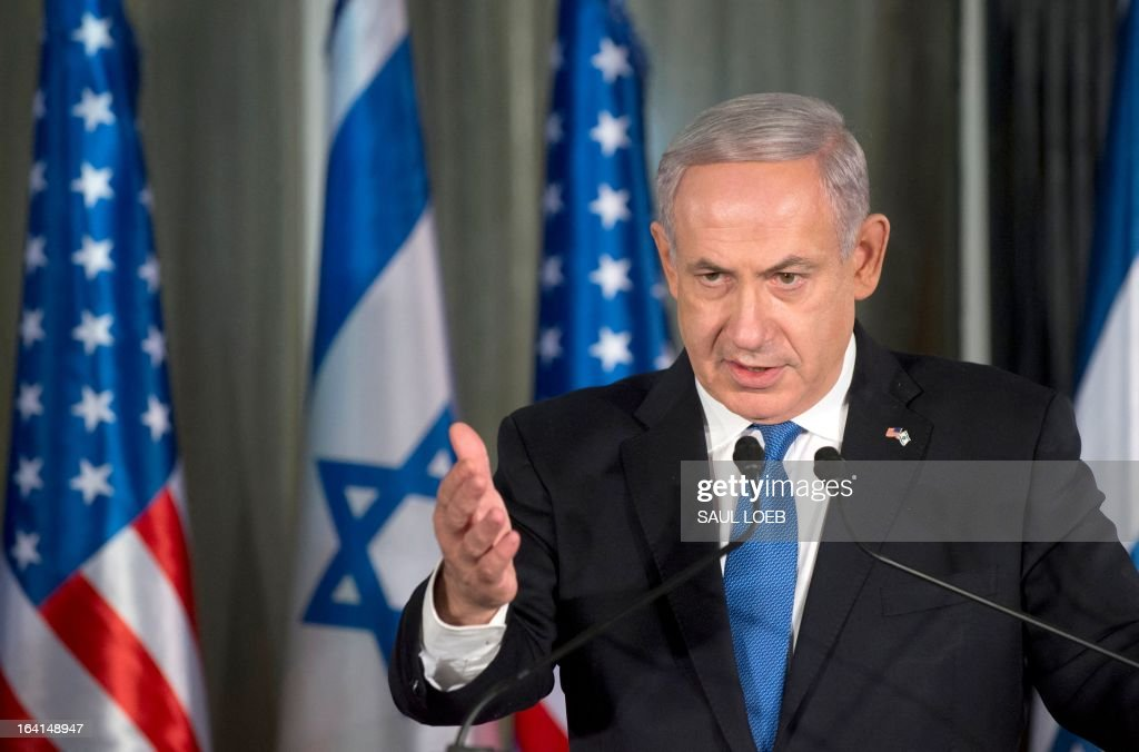 Israeli Prime Minister Benjamin Netanyahu speaks during a joint press conference with US President Barack Obama (unseen) at the Prime Minister's Residence in Jerusalem, March 20, 2013, on the first day of Obama's three day trip to Israel and the Palestinian Territories. AFP PHOTO / Saul LOEB