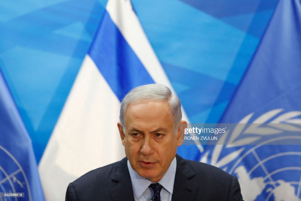 Israeli Prime Minister Benjamin Netanyahu speaks during a joint press conference with the UN secretary general in Jerusalem on June 28, 2016. Ban Ki-moon is on an official visit to Israel and the Palestinian territories. / AFP / POOL / RONEN