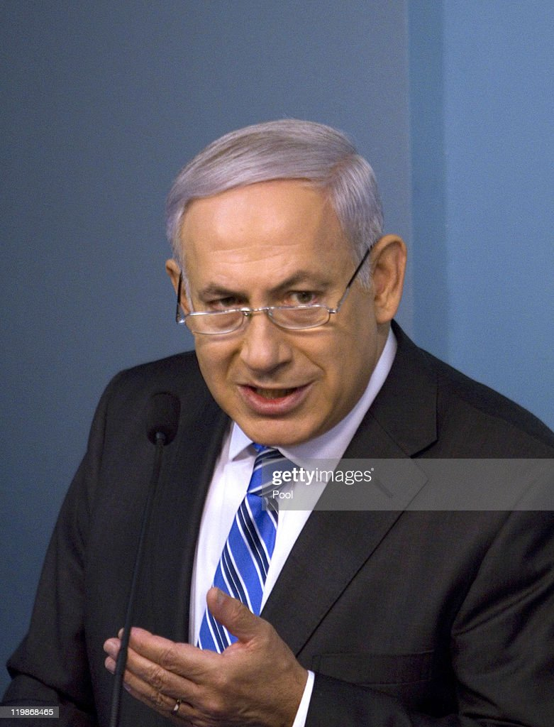 Israeli Prime Minister <a gi-track='captionPersonalityLinkClicked' href=/galleries/search?phrase=Benjamin+Netanyahu&family=editorial&specificpeople=118594 ng-click='$event.stopPropagation()'>Benjamin Netanyahu</a> speaks during a press conference on July 26, 2011 in Jerusalem, Israel. The PM made comments on Israel's housing crisis.